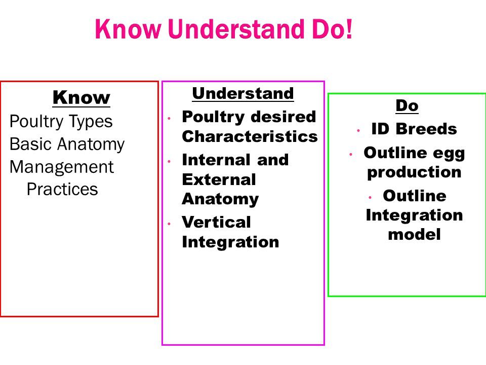 Know Understand Do! Know Poultry Types Basic Anatomy