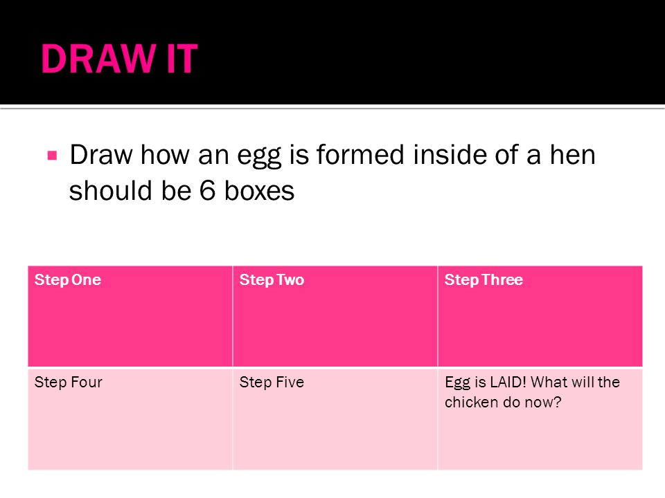 DRAW IT Draw how an egg is formed inside of a hen should be 6 boxes