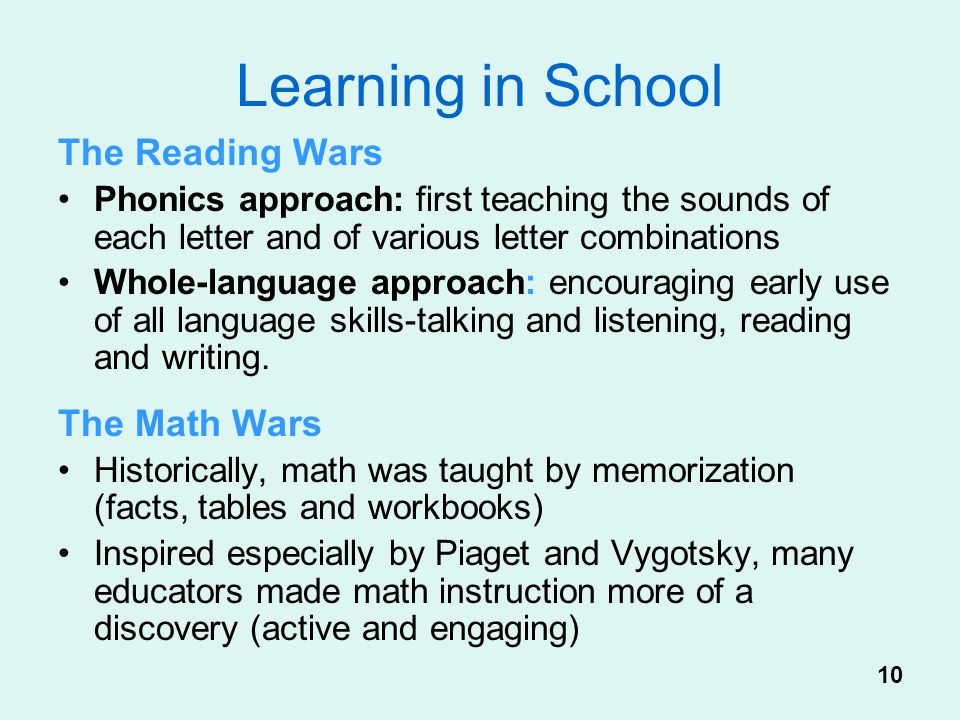 Learning in School The Reading Wars The Math Wars