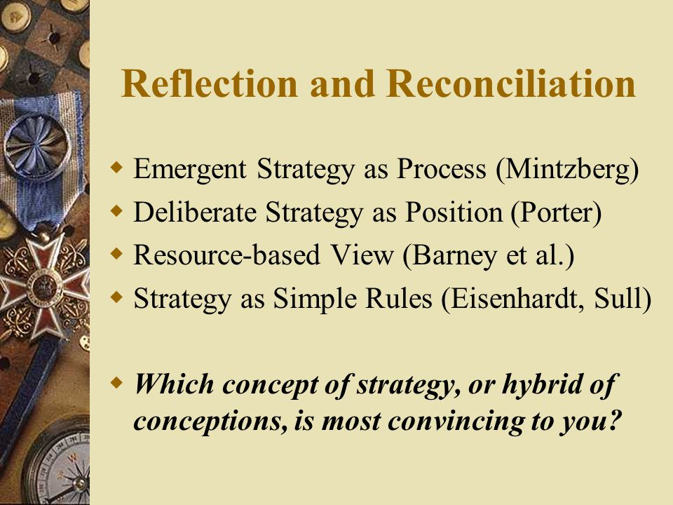 Reflection and Reconciliation