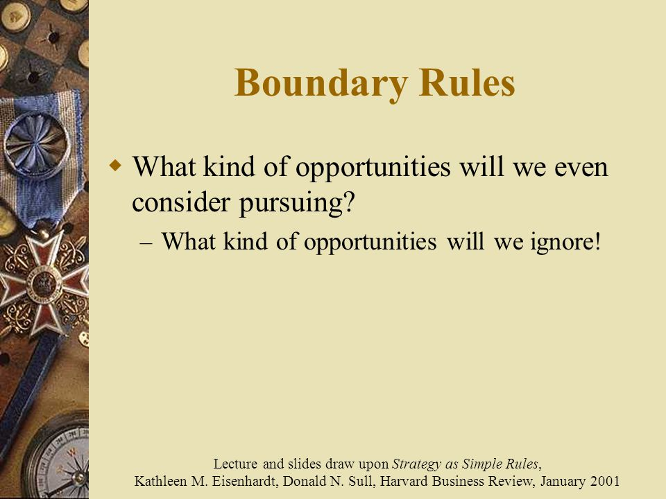 Lecture and slides draw upon Strategy as Simple Rules,