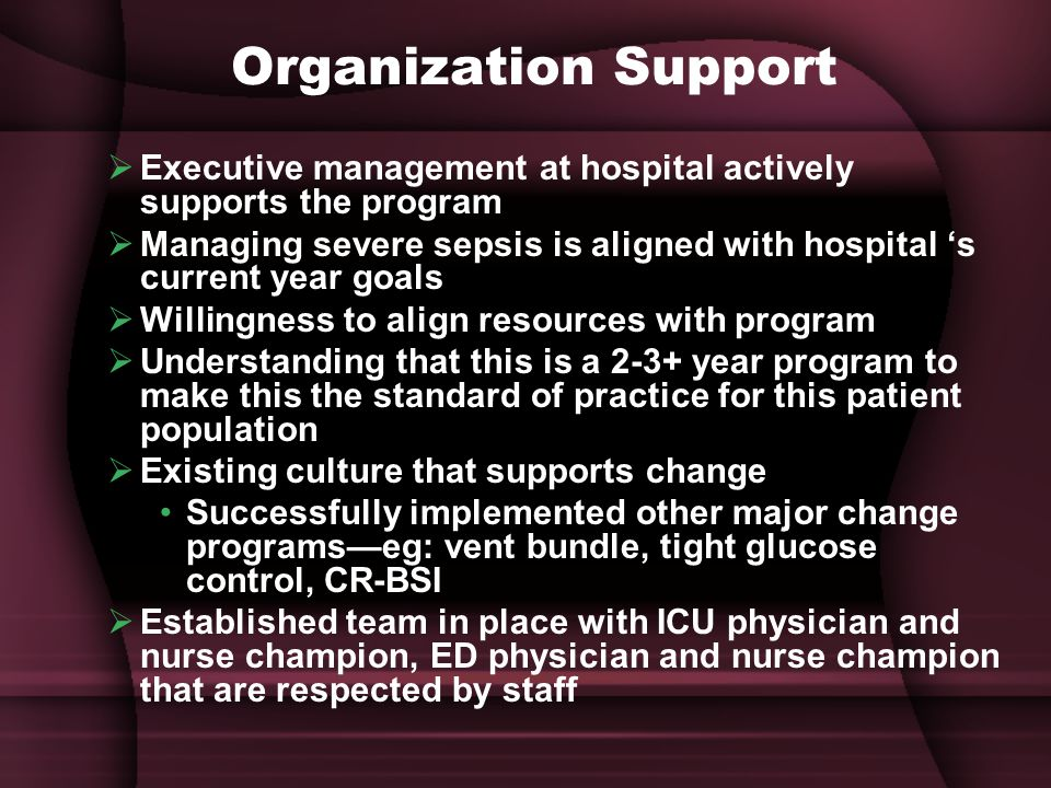 Organization Support Executive management at hospital actively supports the program.