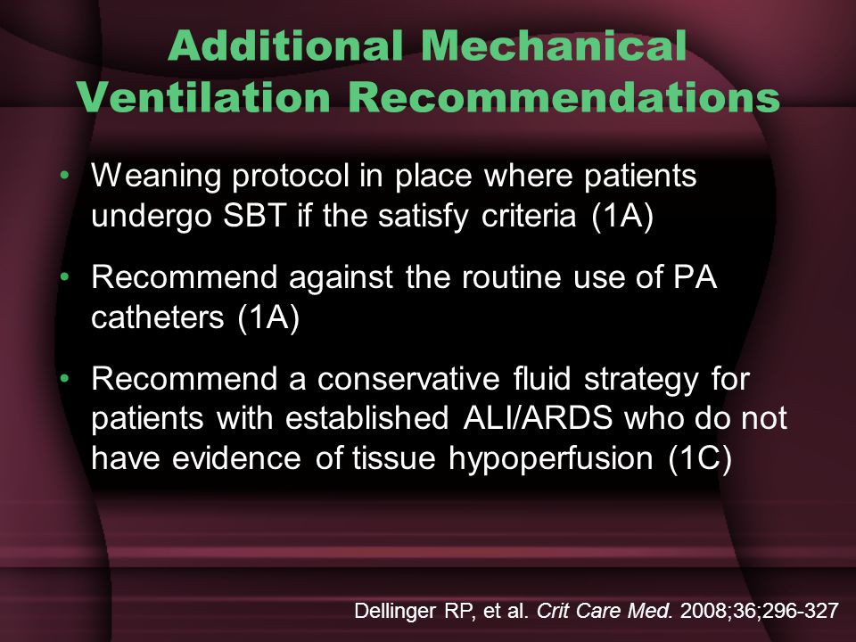 Additional Mechanical Ventilation Recommendations