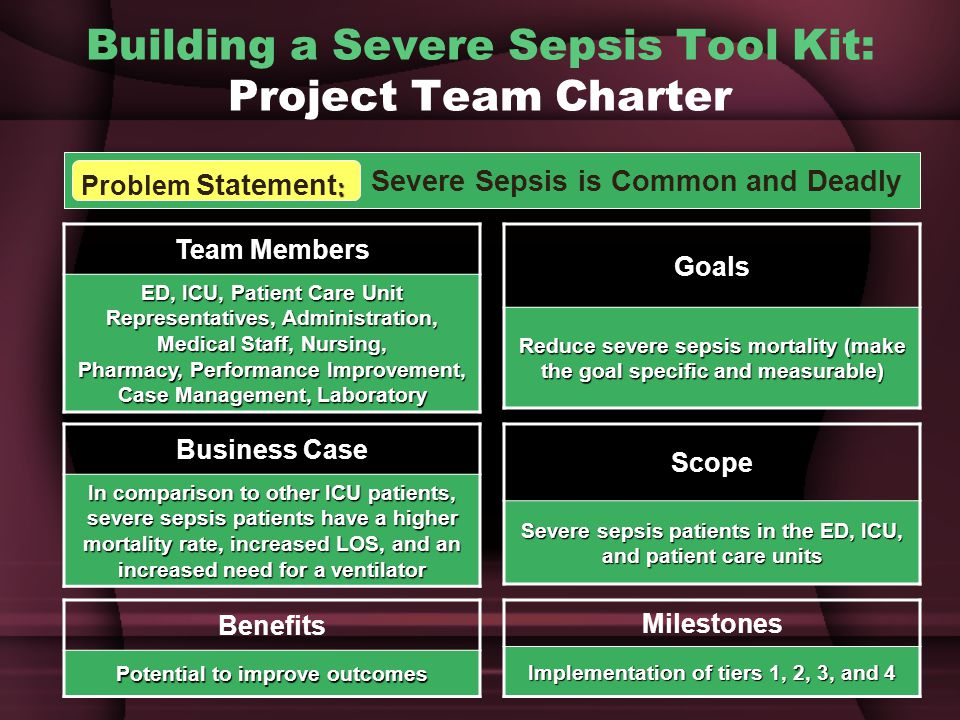 Building a Severe Sepsis Tool Kit: Project Team Charter