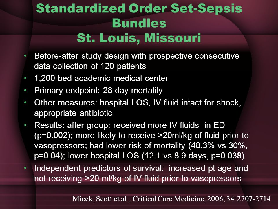 Standardized Order Set-Sepsis Bundles St. Louis, Missouri