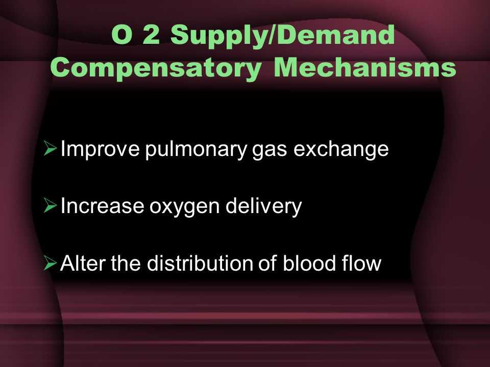 O 2 Supply/Demand Compensatory Mechanisms
