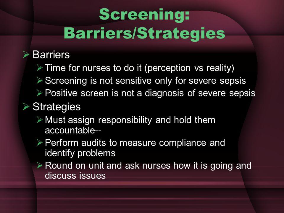 Screening: Barriers/Strategies