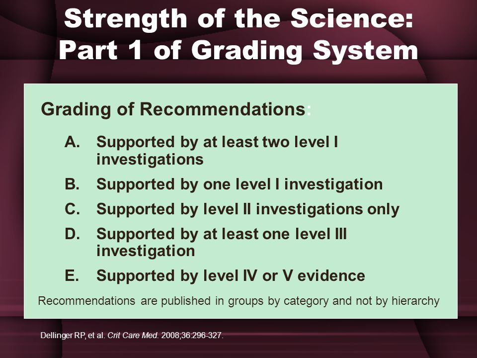 Strength of the Science: Part 1 of Grading System