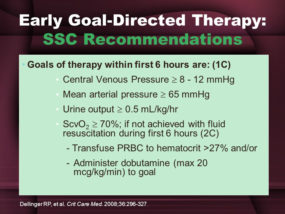 Early Goal-Directed Therapy: SSC Recommendations