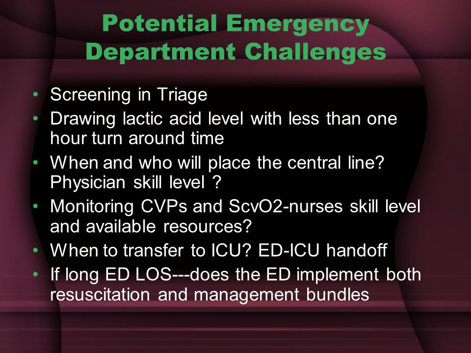 Potential Emergency Department Challenges