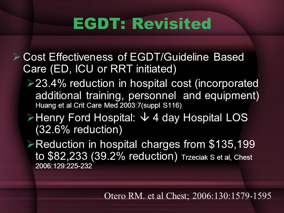 EGDT: Revisited Cost Effectiveness of EGDT/Guideline Based Care (ED, ICU or RRT initiated)