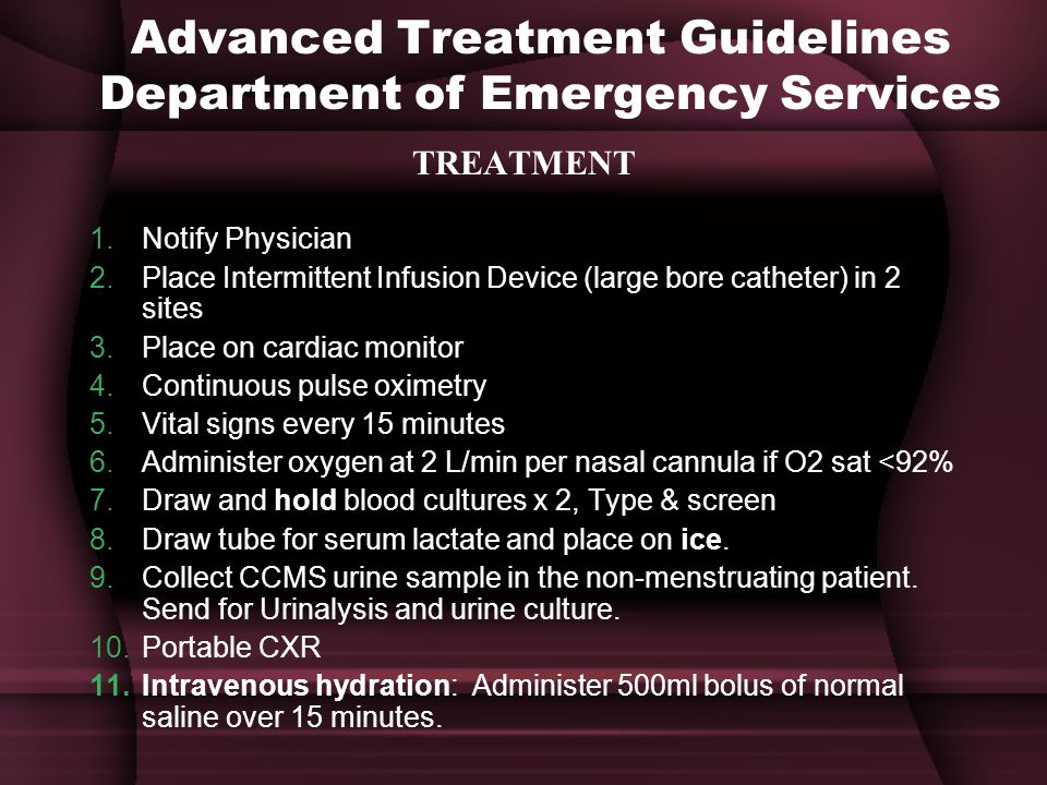 Advanced Treatment Guidelines Department of Emergency Services
