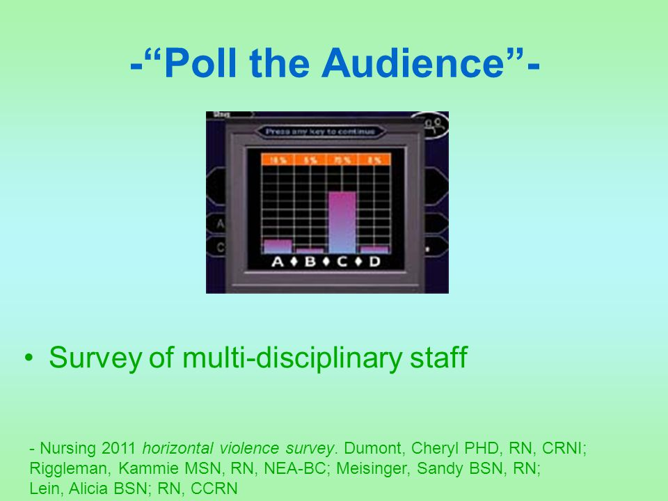- Poll the Audience - Survey of multi-disciplinary staff