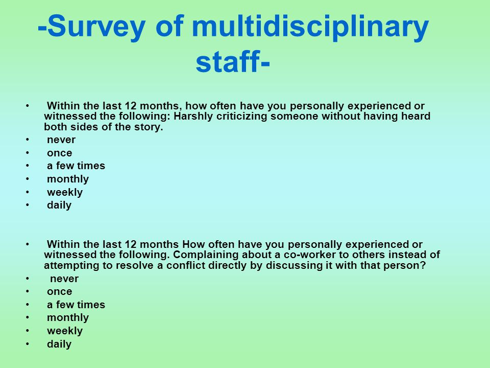 -Survey of multidisciplinary staff-