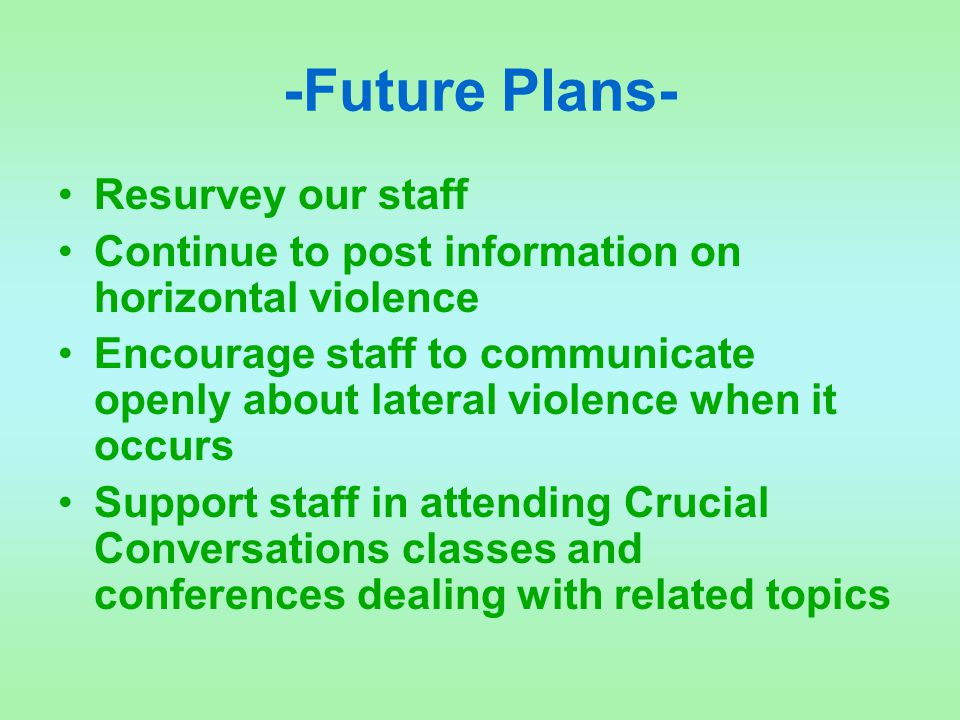 -Future Plans- Resurvey our staff