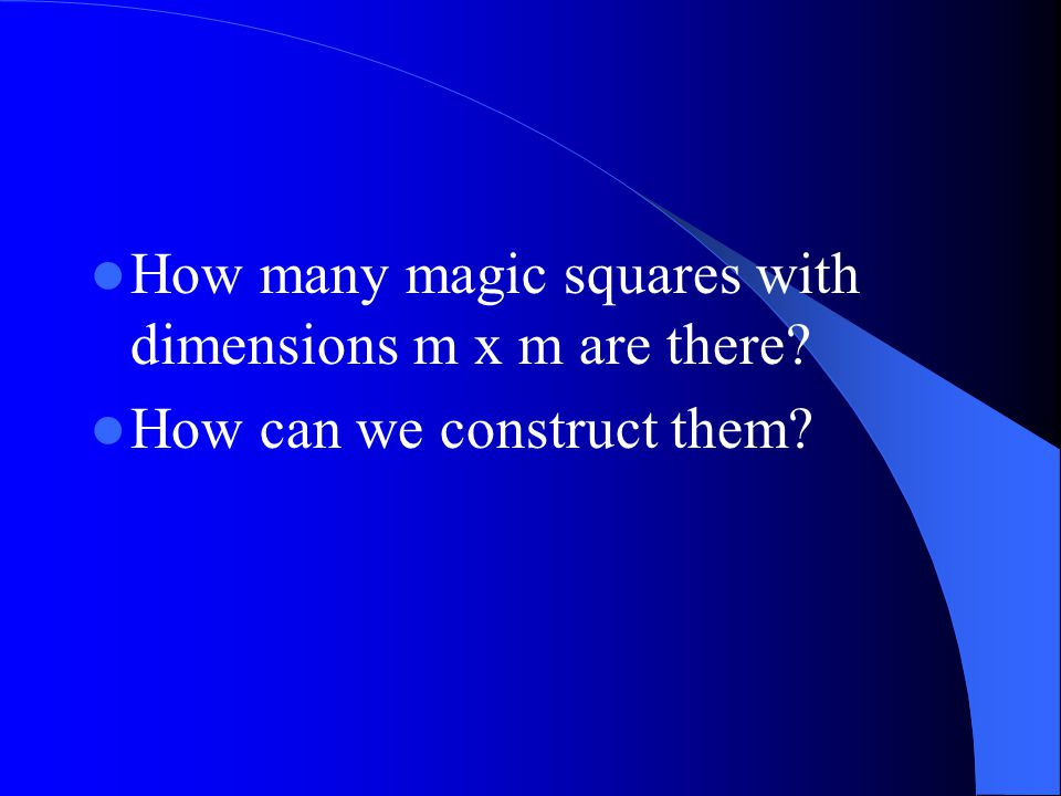 How many magic squares with dimensions m x m are there