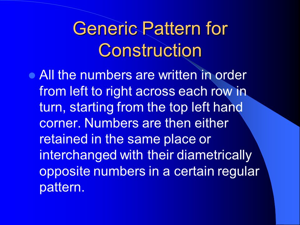 Generic Pattern for Construction