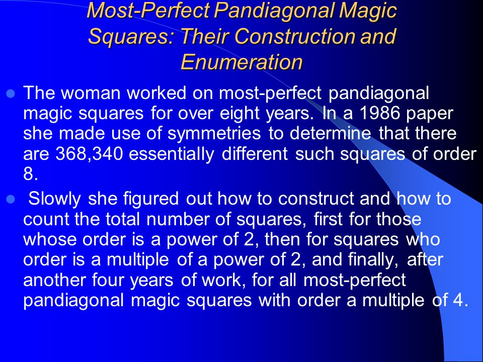 Most-Perfect Pandiagonal Magic Squares: Their Construction and Enumeration