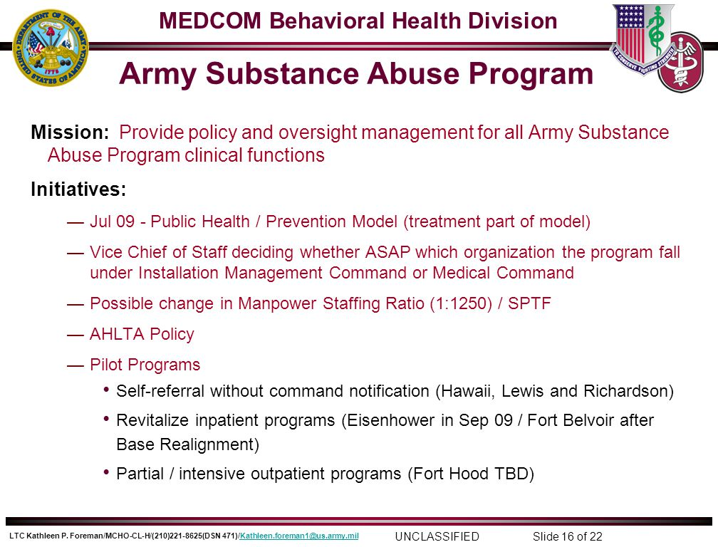 army substance abuse program Army substance abuse program (asap) asap services are available to all active duty soldiers, retirees, and immediate family members seeking professional help.