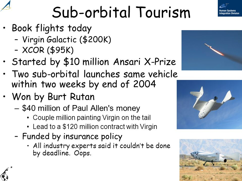Sub-orbital Tourism Book flights today