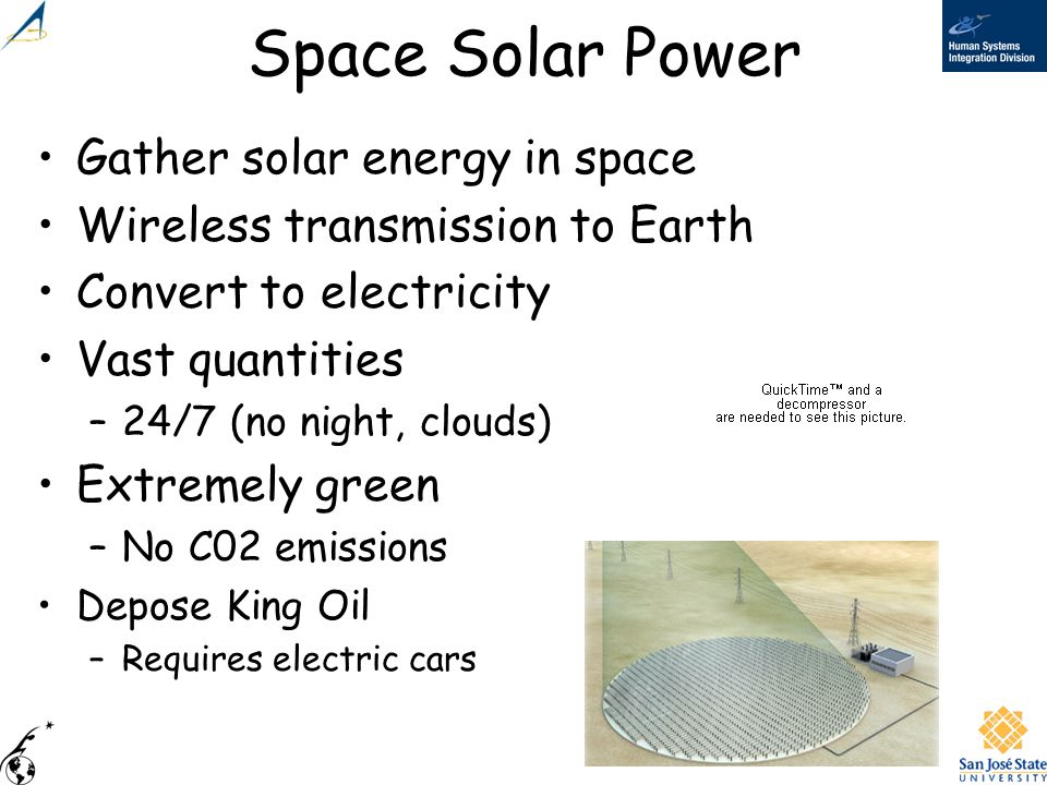 Space Solar Power Gather solar energy in space