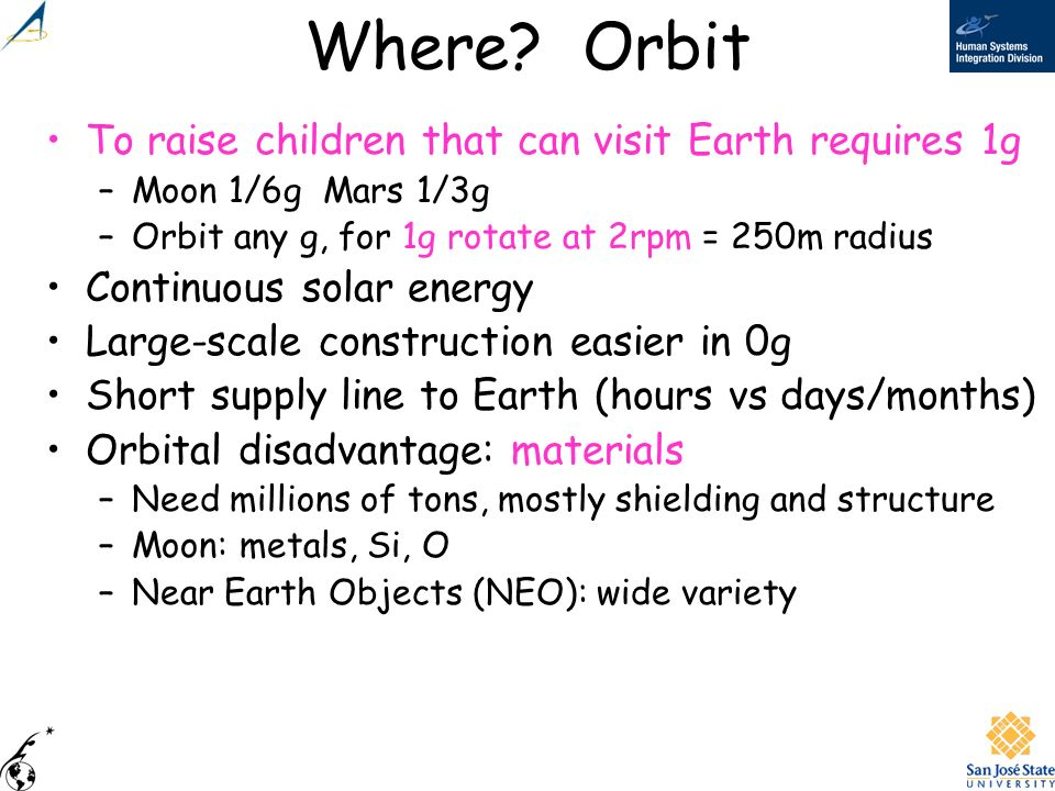 Where Orbit To raise children that can visit Earth requires 1g
