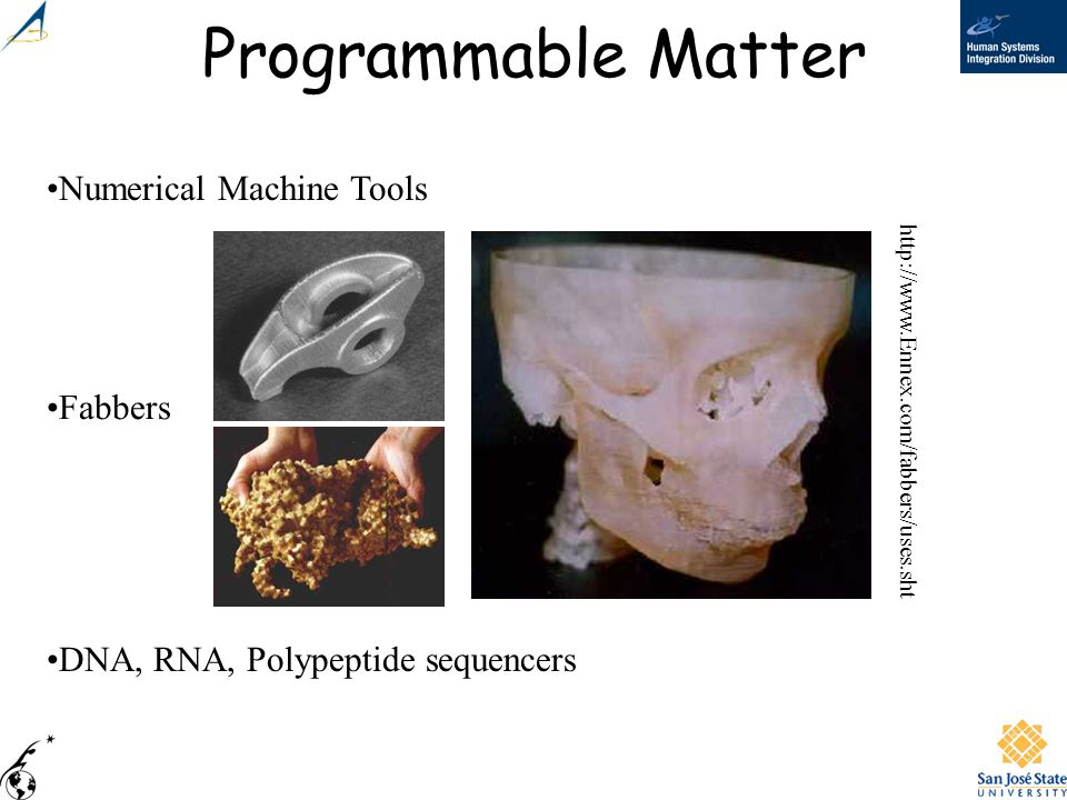 Programmable Matter Numerical Machine Tools Fabbers