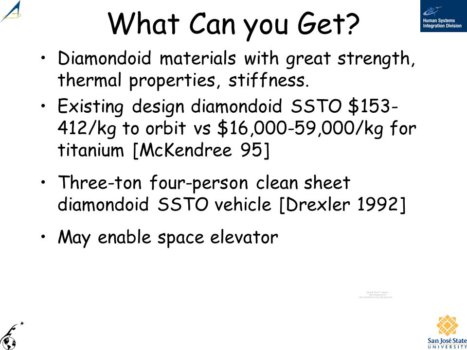 What Can you Get Diamondoid materials with great strength, thermal properties, stiffness.