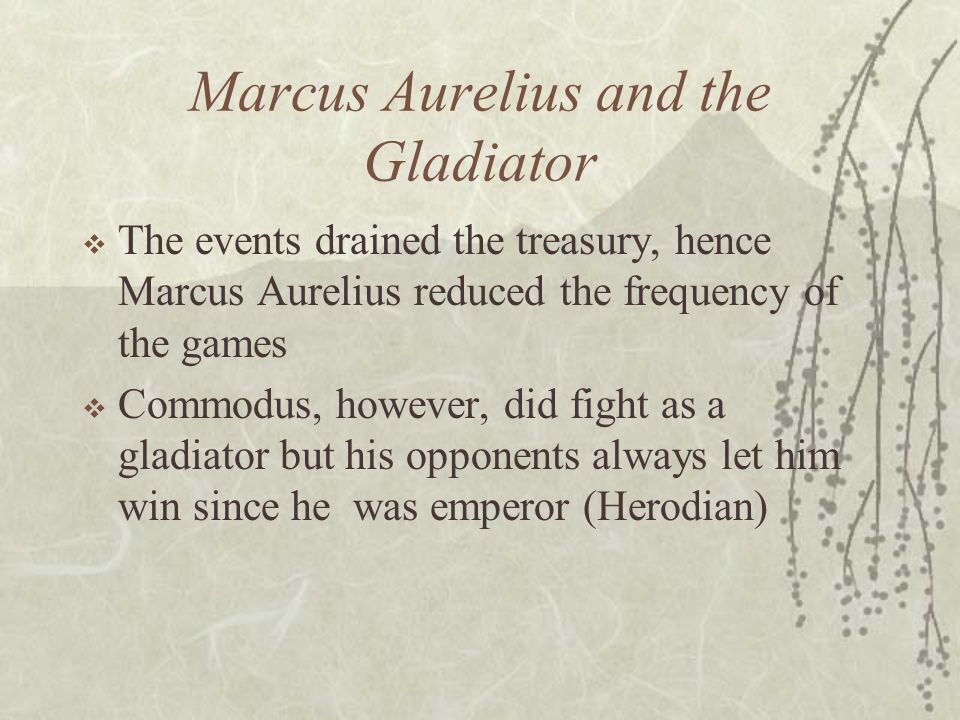 Marcus Aurelius and the Gladiator