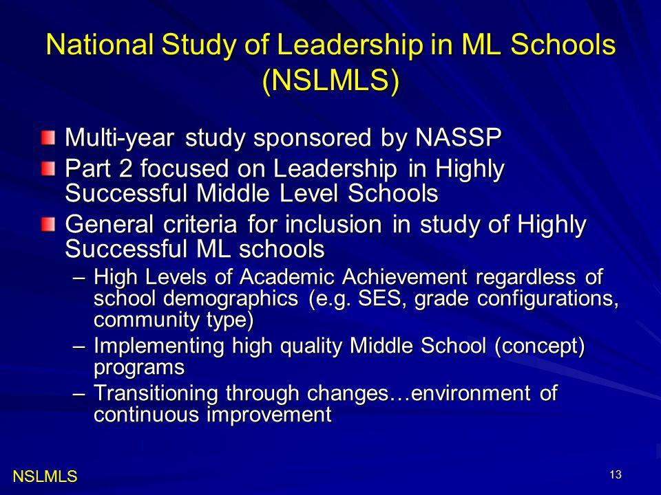 National Study of Leadership in ML Schools (NSLMLS)