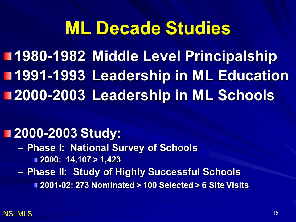 ML Decade Studies 1980-1982 Middle Level Principalship