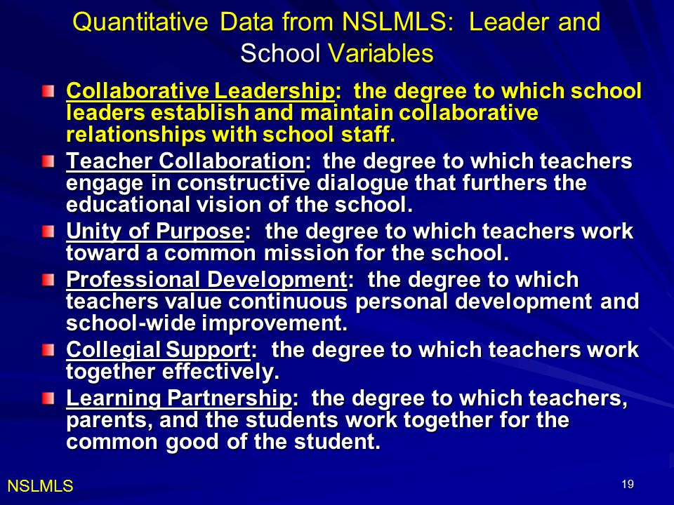 Quantitative Data from NSLMLS: Leader and School Variables