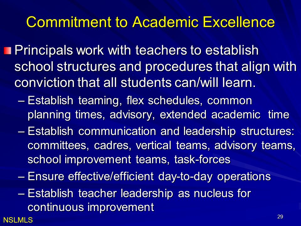Commitment to Academic Excellence