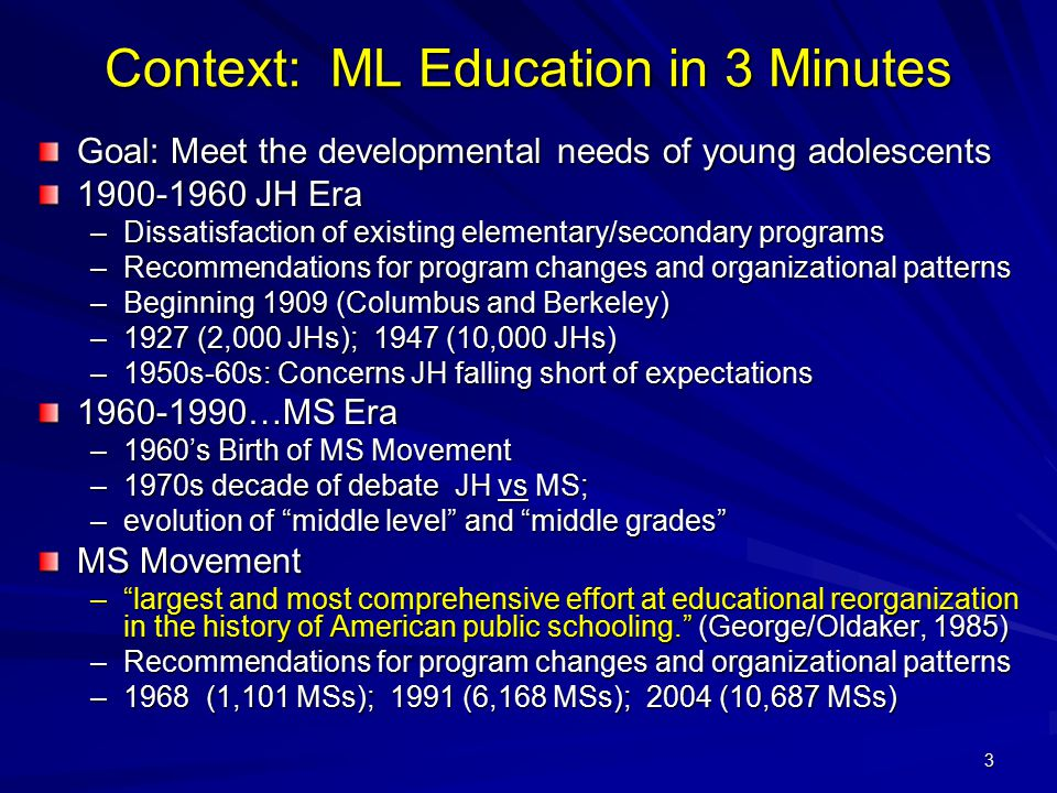 Context: ML Education in 3 Minutes