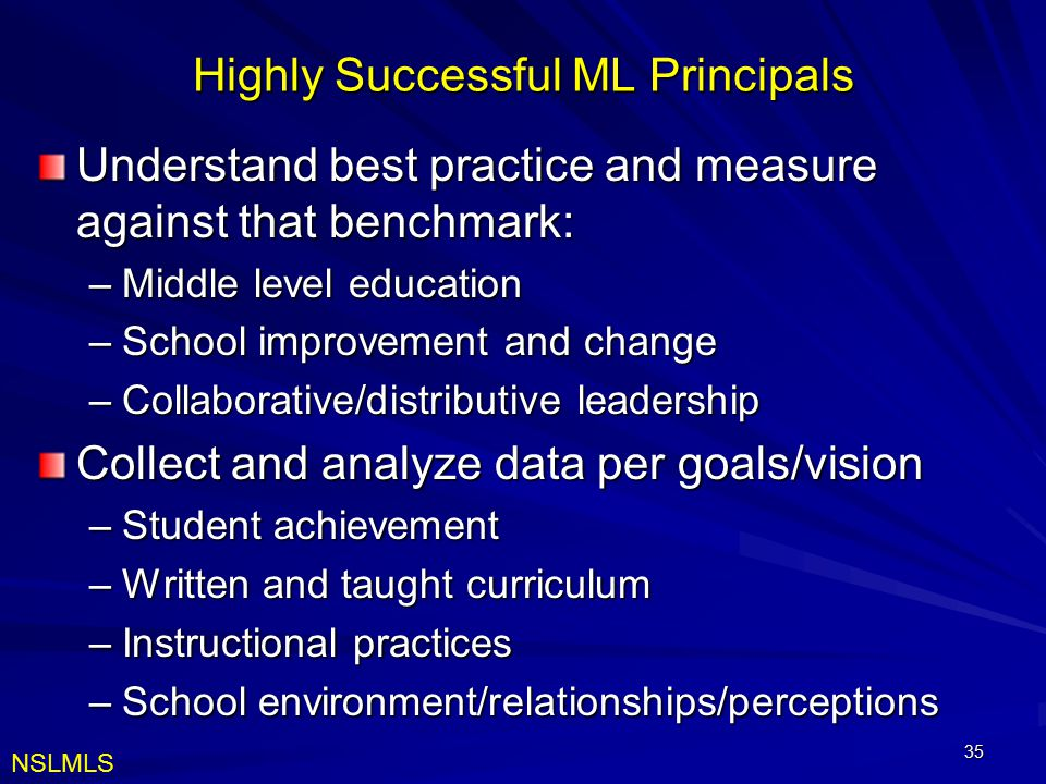Highly Successful ML Principals