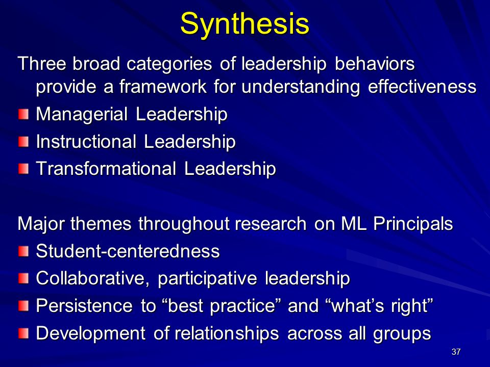 Synthesis Three broad categories of leadership behaviors provide a framework for understanding effectiveness.