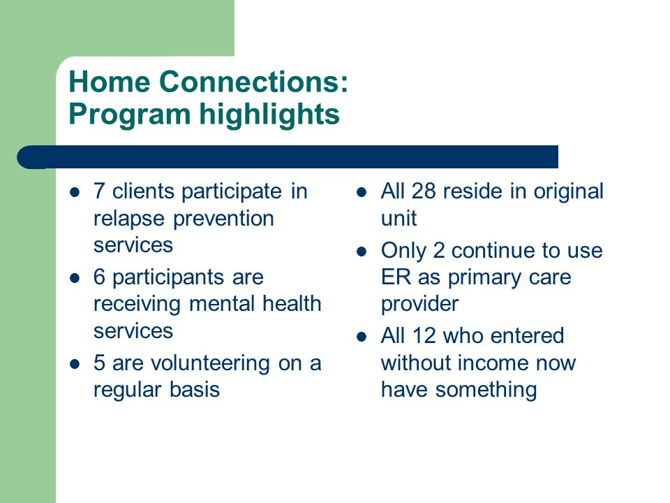 Home Connections: Program highlights