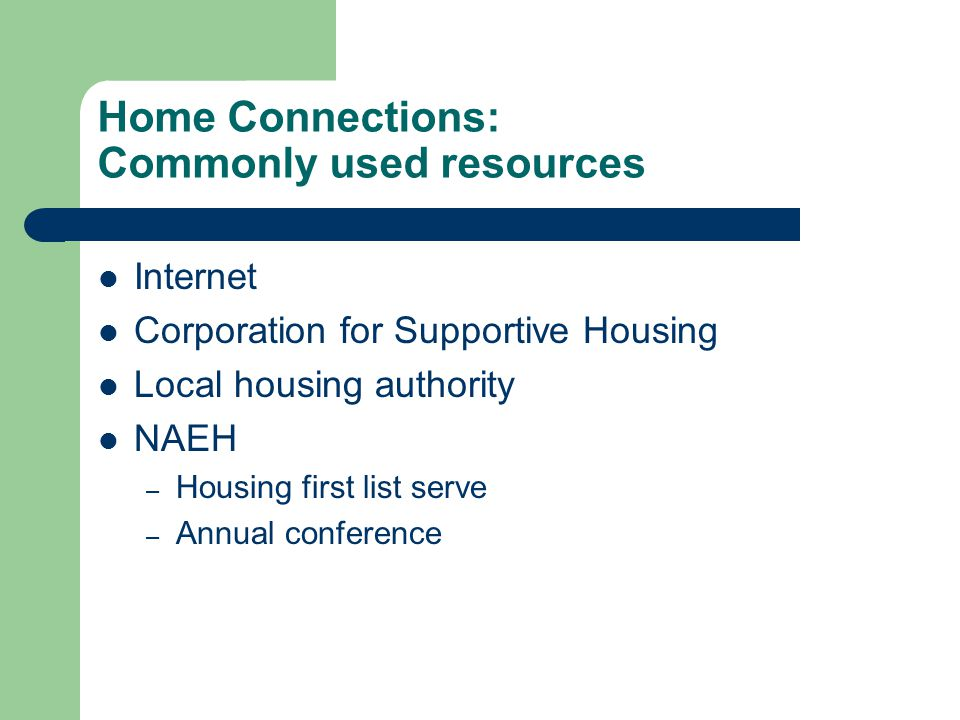 Home Connections: Commonly used resources