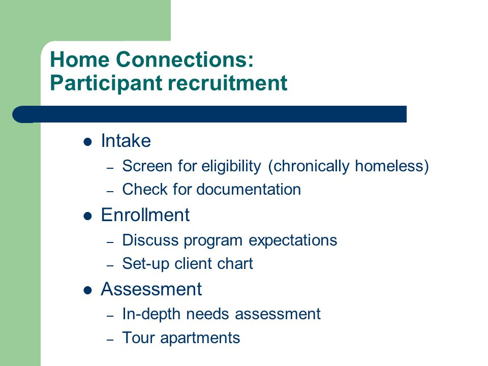 Home Connections: Participant recruitment