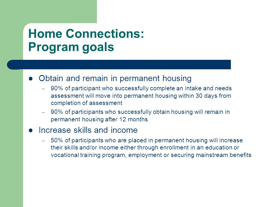 Home Connections: Program goals