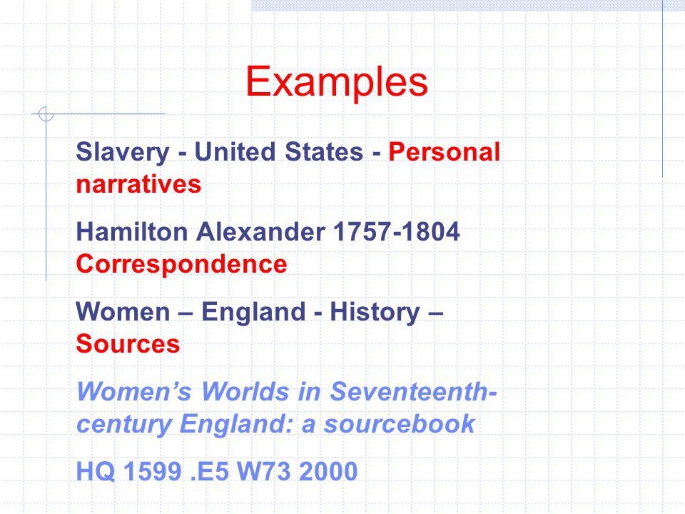 Examples Slavery - United States - Personal narratives