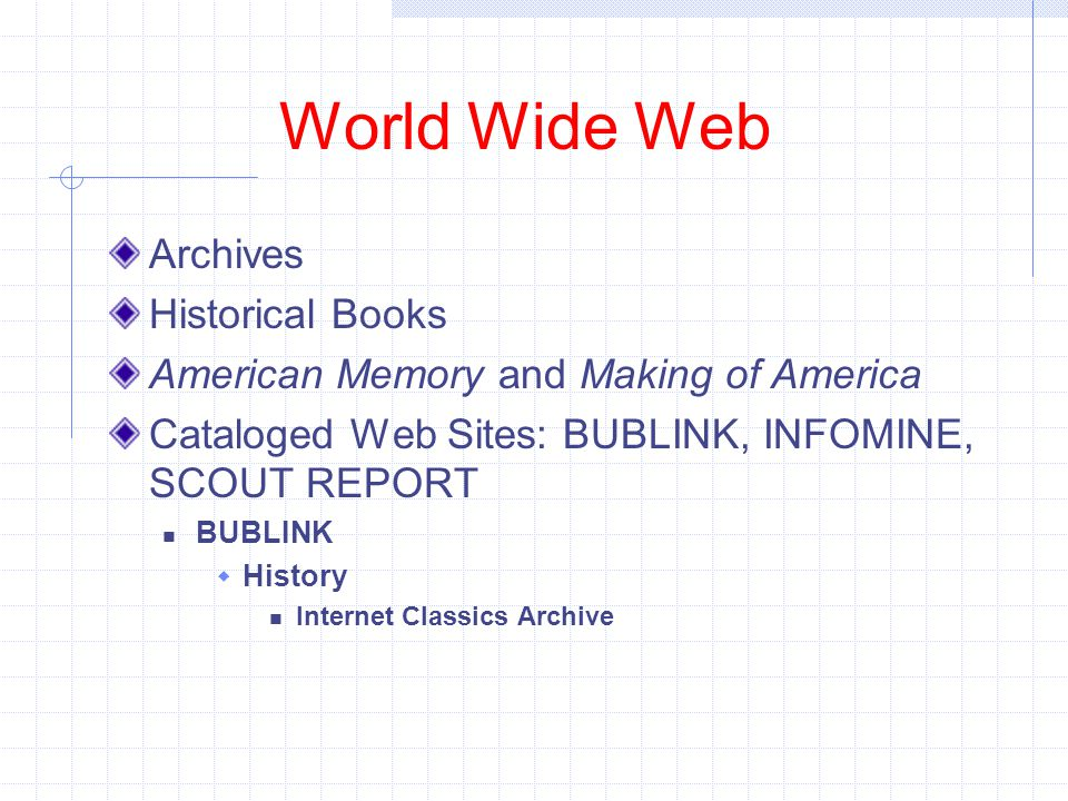 World Wide Web Archives Historical Books