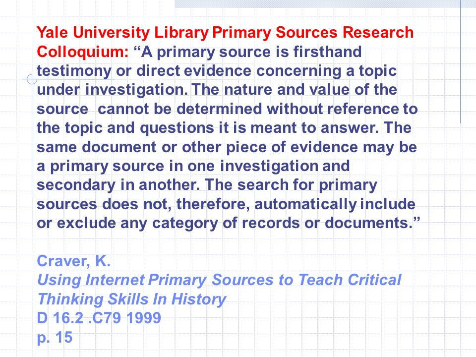 Yale University Library Primary Sources Research