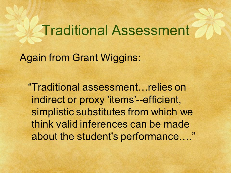Traditional Assessment