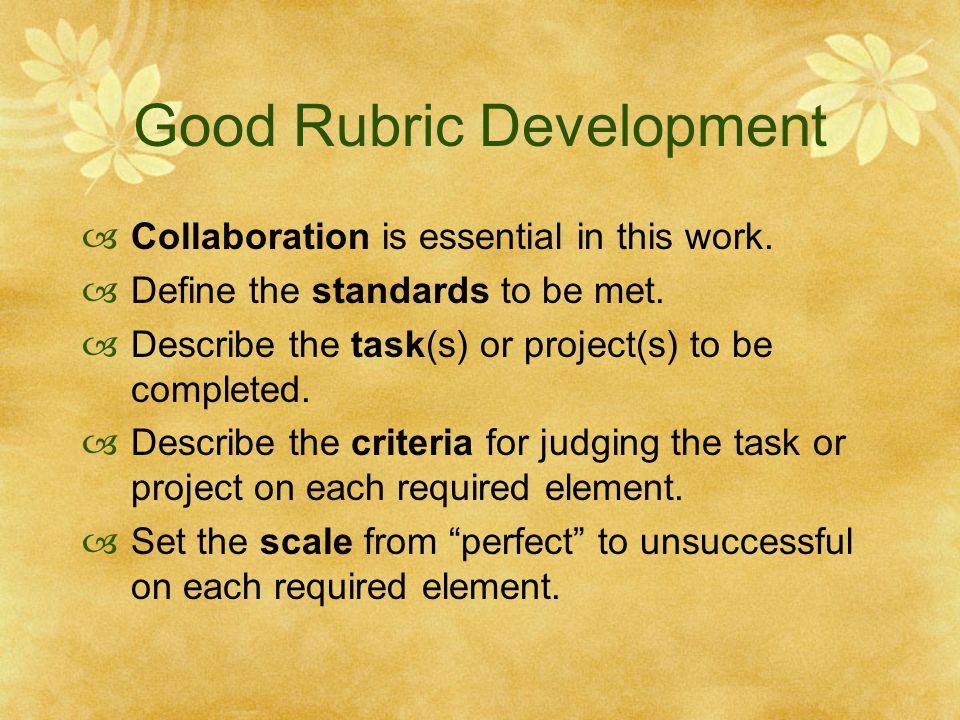 Good Rubric Development
