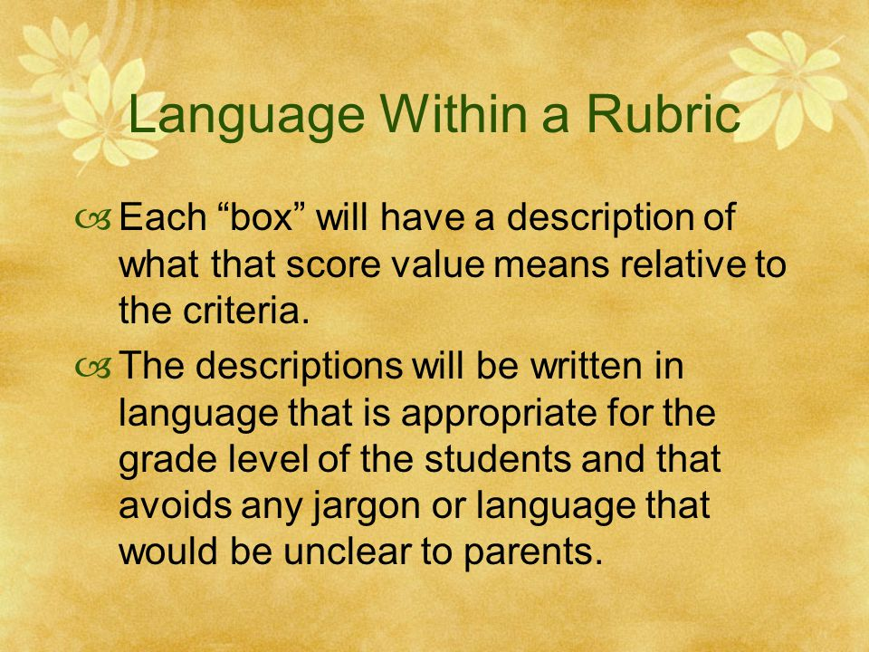 Language Within a Rubric