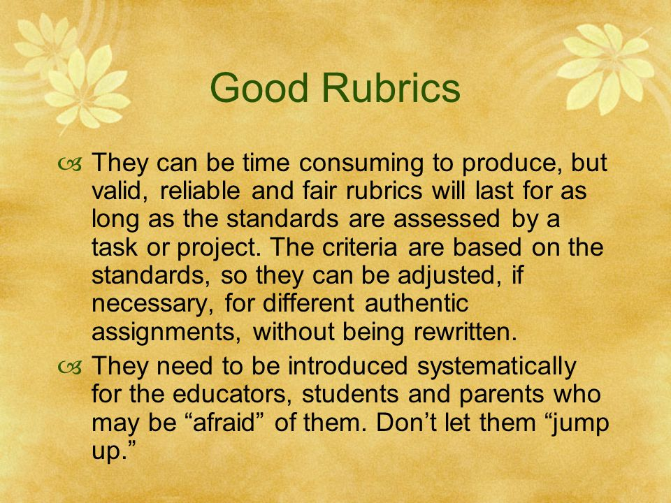 Good Rubrics