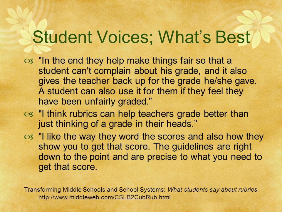 Student Voices; What's Best