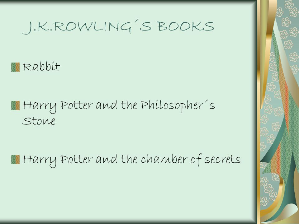 J.K.ROWLING´S BOOKS Rabbit Harry Potter and the Philosopher´s Stone