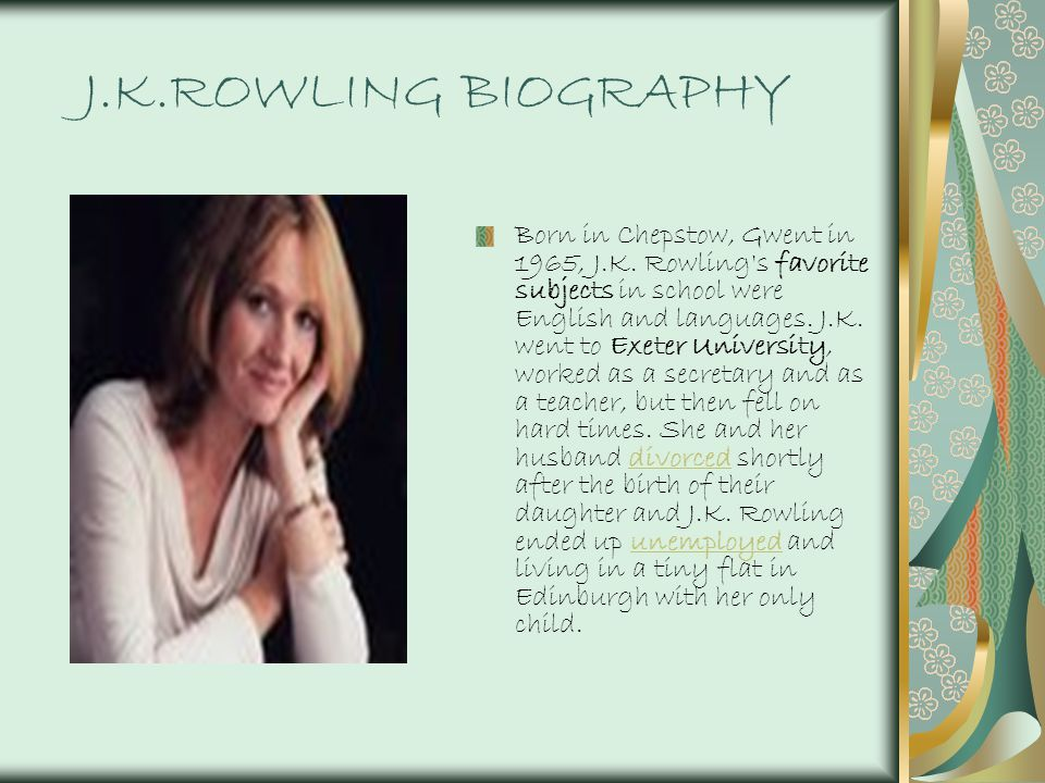 An introduction to the life of joanne kathleen rowling